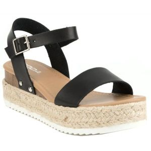 New Black Open Toe Espadrille Flatform Sandals